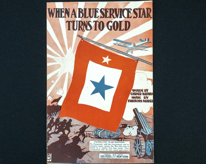 When A Blue Service Star Becomes Gold Words By Casper Nathan Music By Theodore Morse Publisher Leo Fiest Inc 1918 - SMALL 7 x 10 1/2 Inch