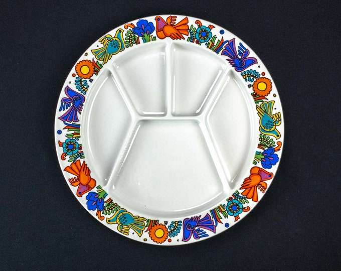 One Villeroy Boch Acapulco Pattern Vintage Fondue Divided Plate Discontinued 1992