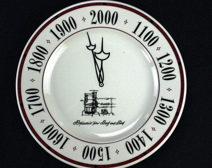 Rotisserie for Beef And Bird Restaurant Houston Texas Restaurant Ware Charger Year 2000 Plate By Syracuse Circa 1999