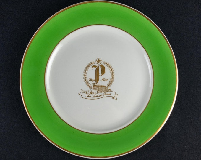 Vintage 1948 Plaza Hotel San Antonio Texas Hotel Ware Service Plate By Iroquois China