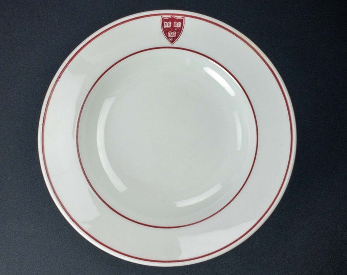 Vintage 1920s Harvard University Heavy Restaurant Ware Bowl Shenango China