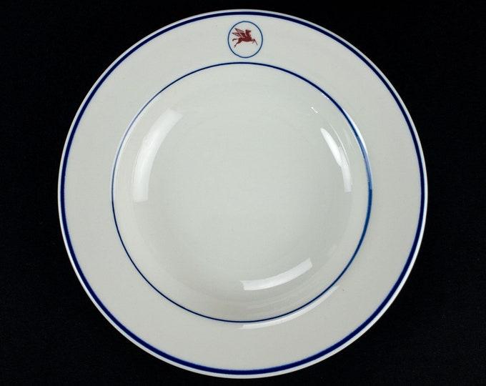 Vintage 1980s Shenango China Mobil Oil Company Tanker Ship Restaurant Ware 9 Inch Wide Rim Bowl
