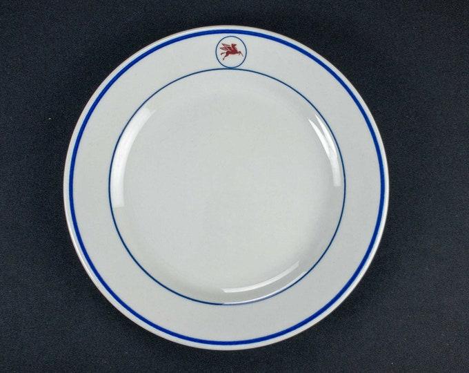 Vintage 1980s Shenango China Mobil Oil Company Tanker Ship Restaurant Ware 9 Inch Dinner Plate
