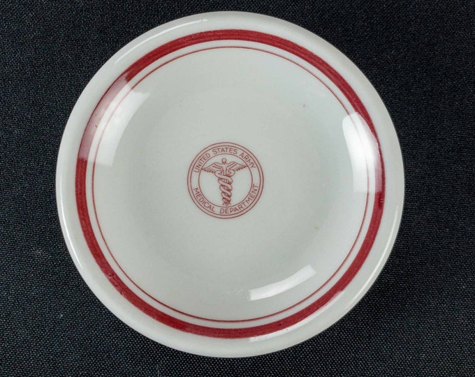 Vintage 1940 WWII Era Shenango China US Army Medical Department Caduceus & Maroon Band Restaurant Ware Butter Pat With Detailed Backstamp
