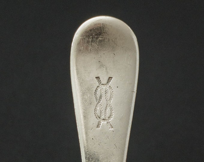 """WWII Era US Navy Junior Officer Mess Square Knot Pattern 7.25"""" Silverplate Tablespoon By International Silver Co"""