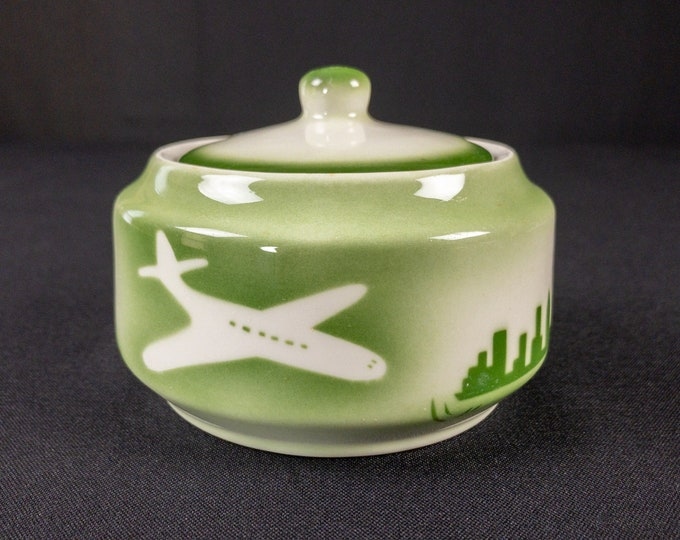 Stencil Airbrush Green Greater Chicago Rockford Illinois International Airport Sugar Bowl With Lid Restaurant Ware By Jackson 1960s