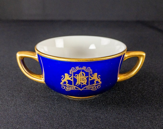 Baker Hotels Double Handle Bullion Soup Cup Restaurant Ware By OPCo Syracuse 1930s