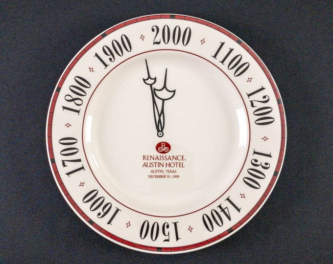 """Renaissance Austin Hotel Millennium Y2K New Years Eve 12"""" Charger Plate Restaurant Ware By Syracuse China"""