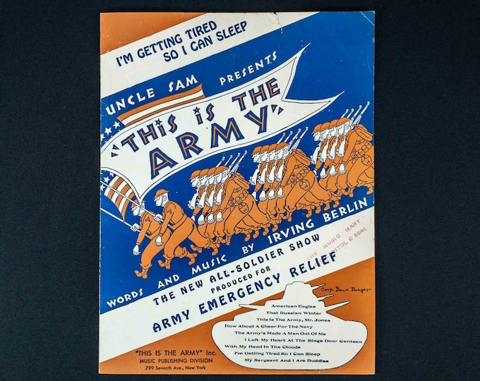 Vintage 1942 Sheet Music I'm Getting Tired So I Can Sleep by Irving Berlin 1942 from the Broadway Musical This Is The Army