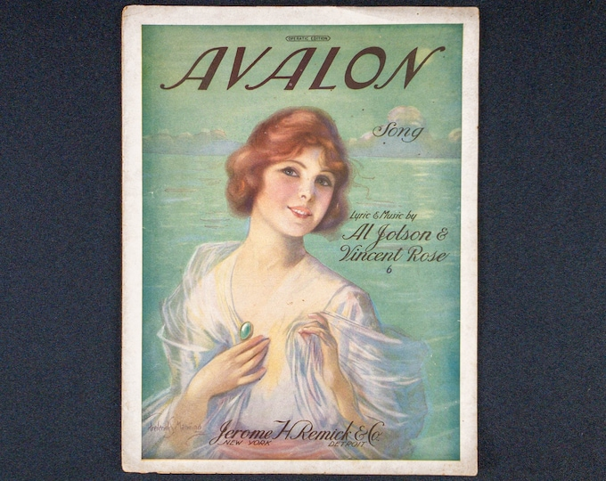 1920 Sheet Music Avalon Song By Al Jolson And Vincent Rose, Cover Art By Frederick Manning