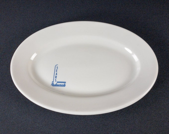 "Sears And Roebuck Company Restaurants 11-3/4"" Oval Platter Restaurant Ware By Shenango China 1940s"