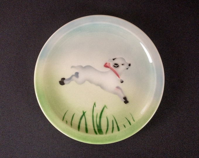 """Stencil Airbrush Jumping Lamb Pattern 8-1/4"""" Childs Plate Restaurant Ware By Syracuse China 1960s"""