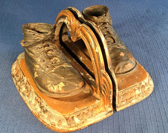 Bronzed Baby Shoe Bookends with Lots of Patina and Character