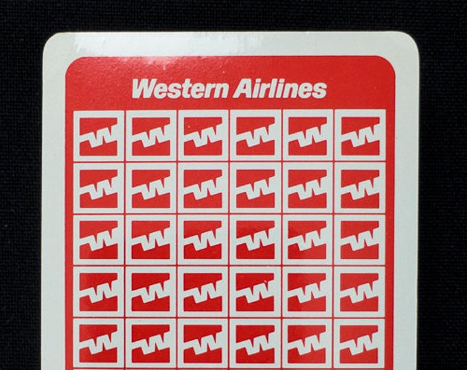Vintage Western Airlines Playing Cards Still Sealed in Plastic with Box 1980s