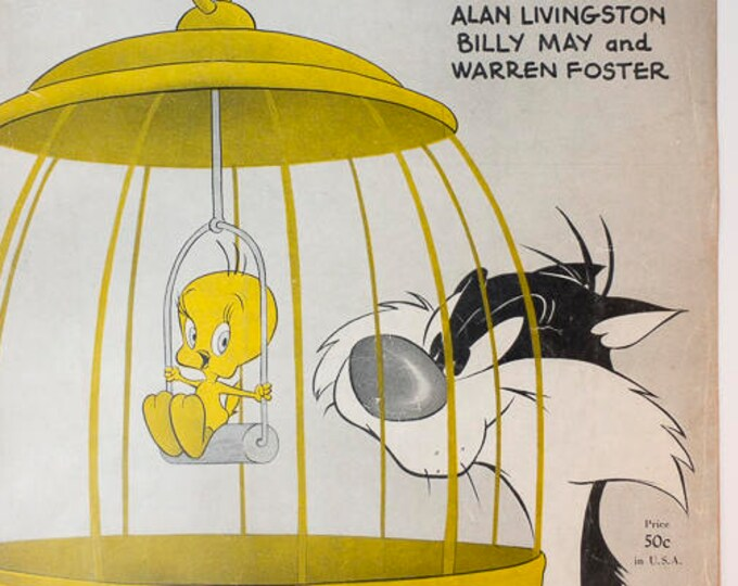 1950 Looney Tunes Novelty Song I Tawt I Taw A Puddy-Tat Sheet Music Featuring Tweetie Bird and Sylvester the Cat - Great Graphics