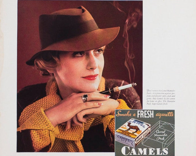 Camel Cigarettes Advertistment from Vintage 1933 Fortune Magazine Woman Smoking
