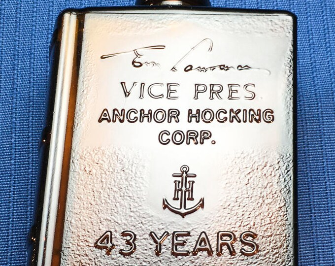 Anchor Hocking E M Lawrence Vice President 43 Years Retirement Amber Glass Book Flask Circa 1973