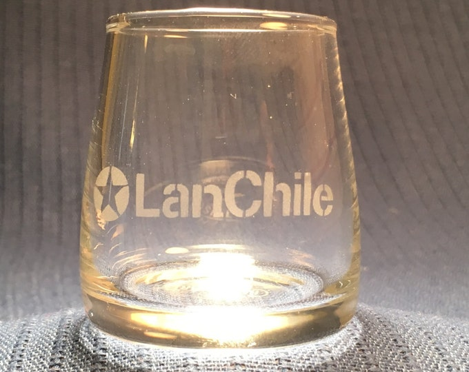 LAN Chile Airlines Small Liquior Glasses Unique Somewhat Rare by Cristal Art Chile
