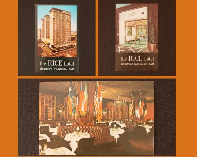 Three Vintage Postcards Rice Houston Houston Texas by Dexter Printing Inc. Circa 1970s