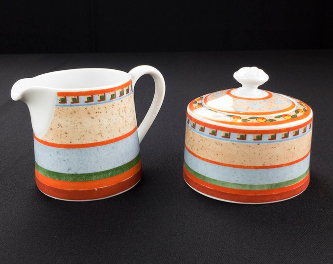 Villeroy and Boch Switch 4 Orange Naranja and Blue Creamer and Sugar Bowl with Lid Circa 1991