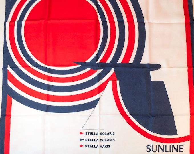 Vintage Sun Line Cruises Polyester Ladies Scarf Greek Cruise Ship Advertising Keusseoglou