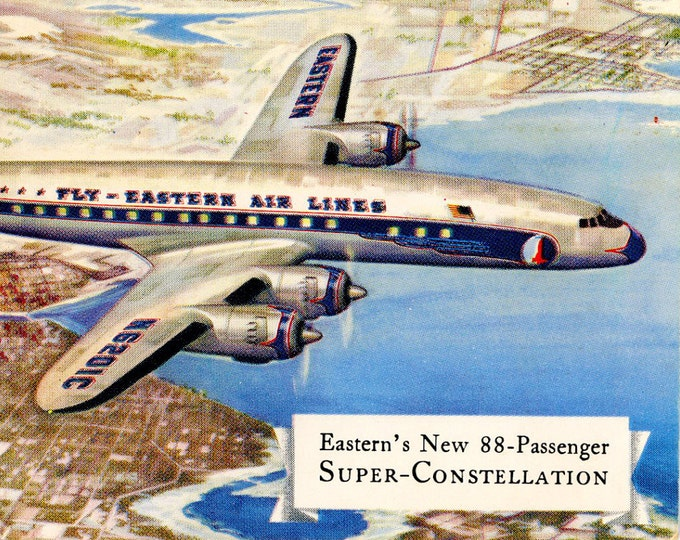 Six vintage airline postcards from the 1980s and prior Delta Eastern Continental