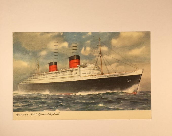Cunard RMS Queen Elizabeth Postcard Posted and Written on 1950s