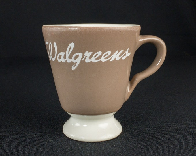 1960s Walgreens Lunch Counter Soda Fountain Less Common Gray and White Footed Cup By Sterling China East Liverpool Ohio USA