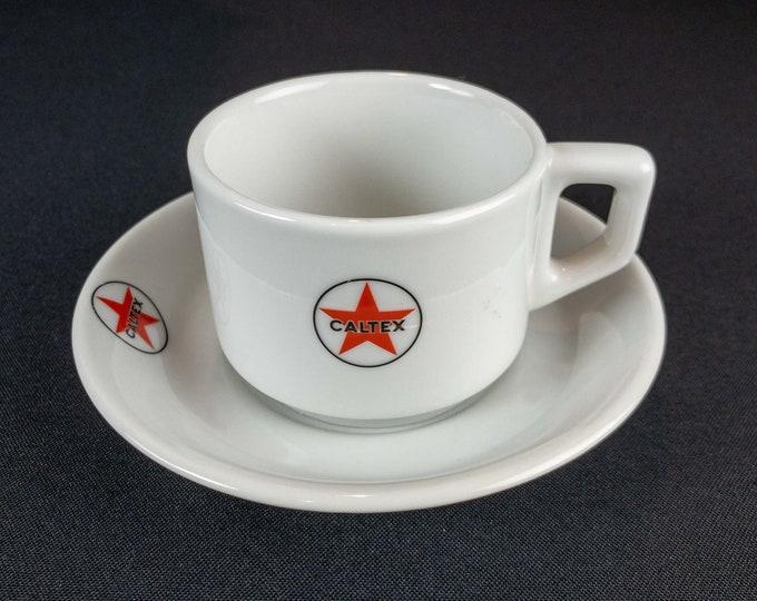 Vintage 1990 CALTEX Oil Tanker Cup & Saucer Restaurant Ware Mosa Maastricht Holland