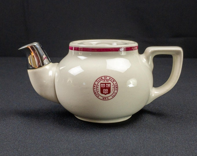 1980s-90s Harvard Club of New York Hall Restaurant Ware Individual Teapot Sunken Lid Metal Spout