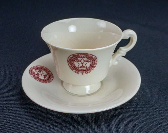 1950s Texas A&M Agricultural and Mechanical College Teacup and Saucer By Syracuse China