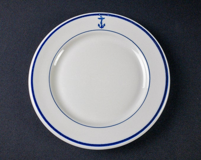 """US Navy Cobalt Blue Fouled Anchor Pattern 9-5/8"""" Officer Mess Wardroom Dinner Plate restaurant Ware By Shenango China Circa 1920s-1950s"""
