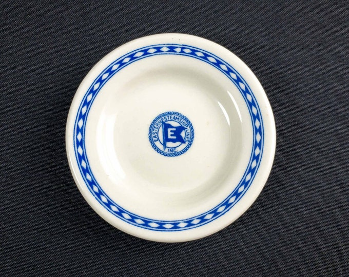 1940s Eastern Steamship Lines Inc. Blue Marine Pattern Restaurant Ware Butter Pat By Mayer China