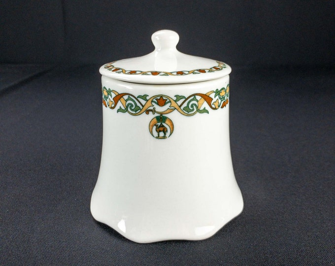 1920s OPCo Syracuse Medinah Pattern Shrine Temple Restaurant Ware Lidded Sugar Bowl Masonic