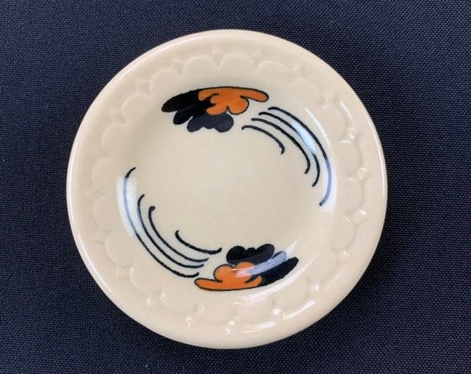 Restaurant Ware Econo-Rim Butter Pat Pattern P-146 Orange Black Floating Clouds By Syracuse China Circa 1937