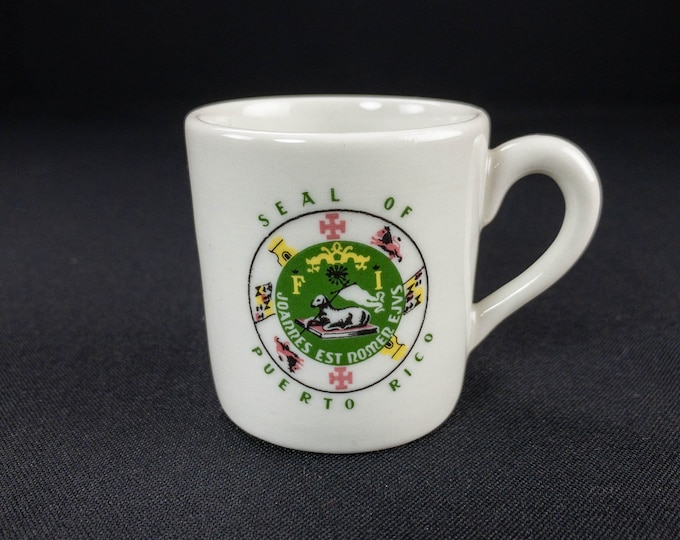 Vintage 1966 Caribe Restaurant Ware China Demitasse Cup Puerto Rico Seal