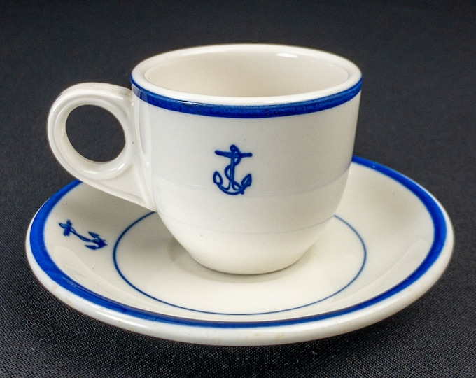 1920s - Early 1950s WWII Era US Navy Cobalt Blue Fouled Anchor Pattern Officer Mess Wardroom Demitasse Cup and Saucer By Shenango China