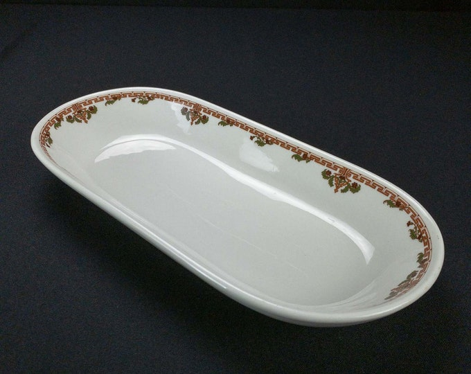 Large Oblong Vegetable or Bread Dish Rice Pattern Restaurant Ware by Shenango China Circa 1930s-1948