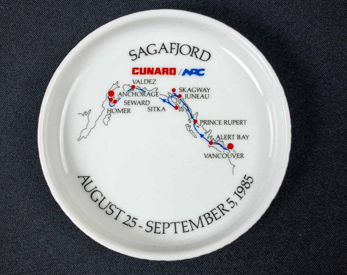 Vintage 1980s Cunard Sagafjord Cruise Ship Souvenir Coaster Rosenthal China Germany