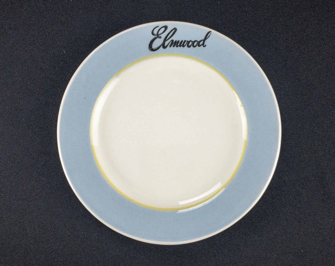 Vintage 1950s Medalta China Restaurant Ware Roll Bread Plate made for the Elmwood. Possibly a 1950s Casino and Hotel in Windsor, Ontario