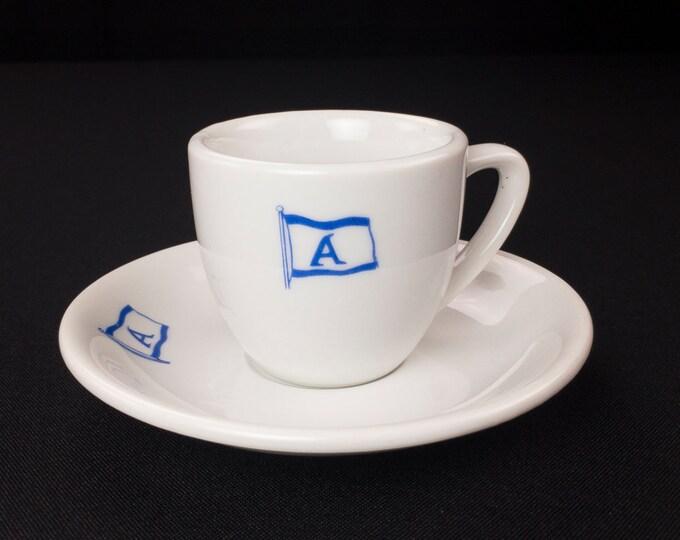 Alafouzos Shipping Company Piraeus Greece Demitasse Cup and Saucer 1980s by MLK Toyko