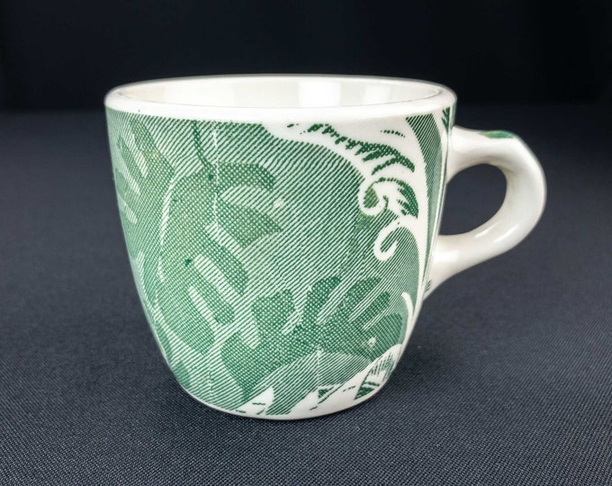 Vintage 1950s Restaurant Ware Cup Green Shadowleaf Pattern Wallace China Los Angeles California