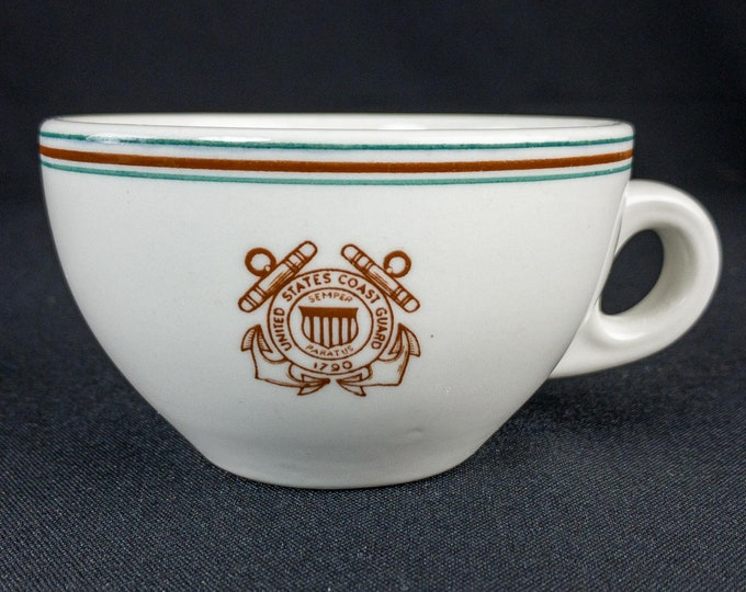 1945 United States Guard Guard Officer Mess Wardroom Restaurant Ware Coffee Cup By Walker China Bedford Ohio USA