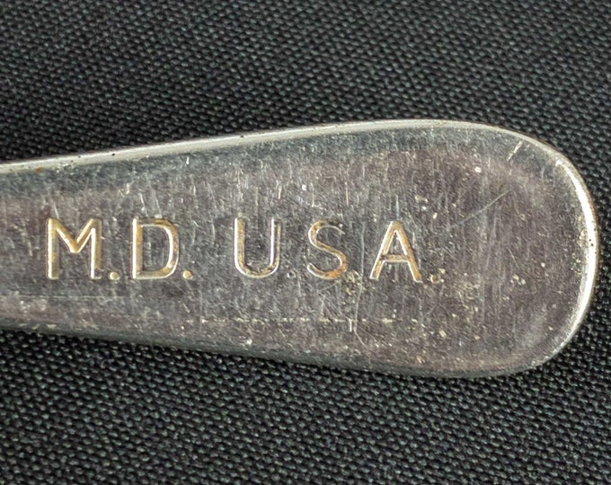 "1940s-50s WWII Korean War Era United States Army Medical Department MD USA Stainless Steel Restaurant Ware 7 1/4"" Soup Spoon"