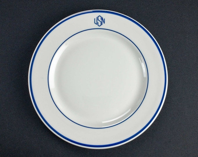 """Vintage 1920s-early 1950s USN US Navy Chief Warrant Officer Mess Restaurant Ware 9 3/4"""" Plate WWII Korean War Era"""