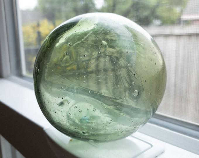 Round Hand Blown Glass Fishing Float Medium Green Color 3 3/8 Inch Diameter