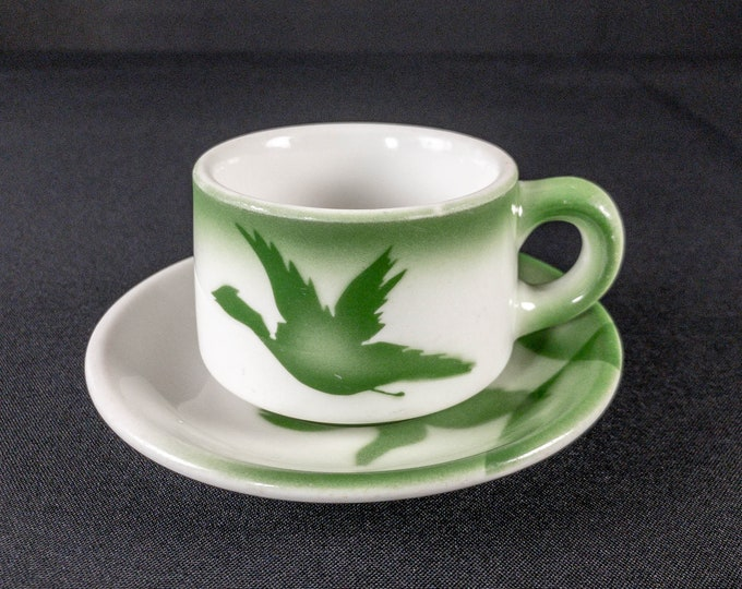 Green Stencil Airbrush Duck Pheasant Bird Coffee Cup And Saucer Restaurant Ware By Jackson China Kalberer Hotel Supply 1950s