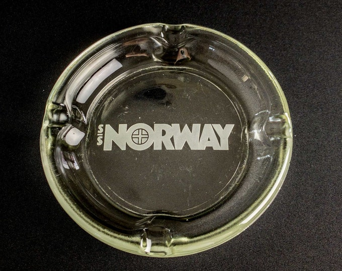 "1980s Ocean Liner SS Norway Pressed Embossed Glass 8"" Ashtray"