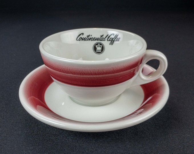 Vintage 1960s Continental Coffee Company Restaurant Ware Cup and Saucer Hand Painted by Mayer China USA