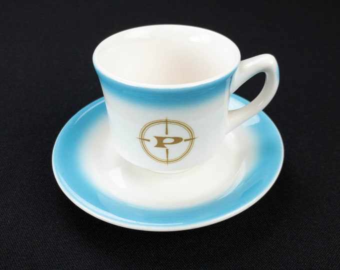 Prudential Line Small Espresso Shot Cup by Jackson China and Saucer by Shenango China Circa 1970s